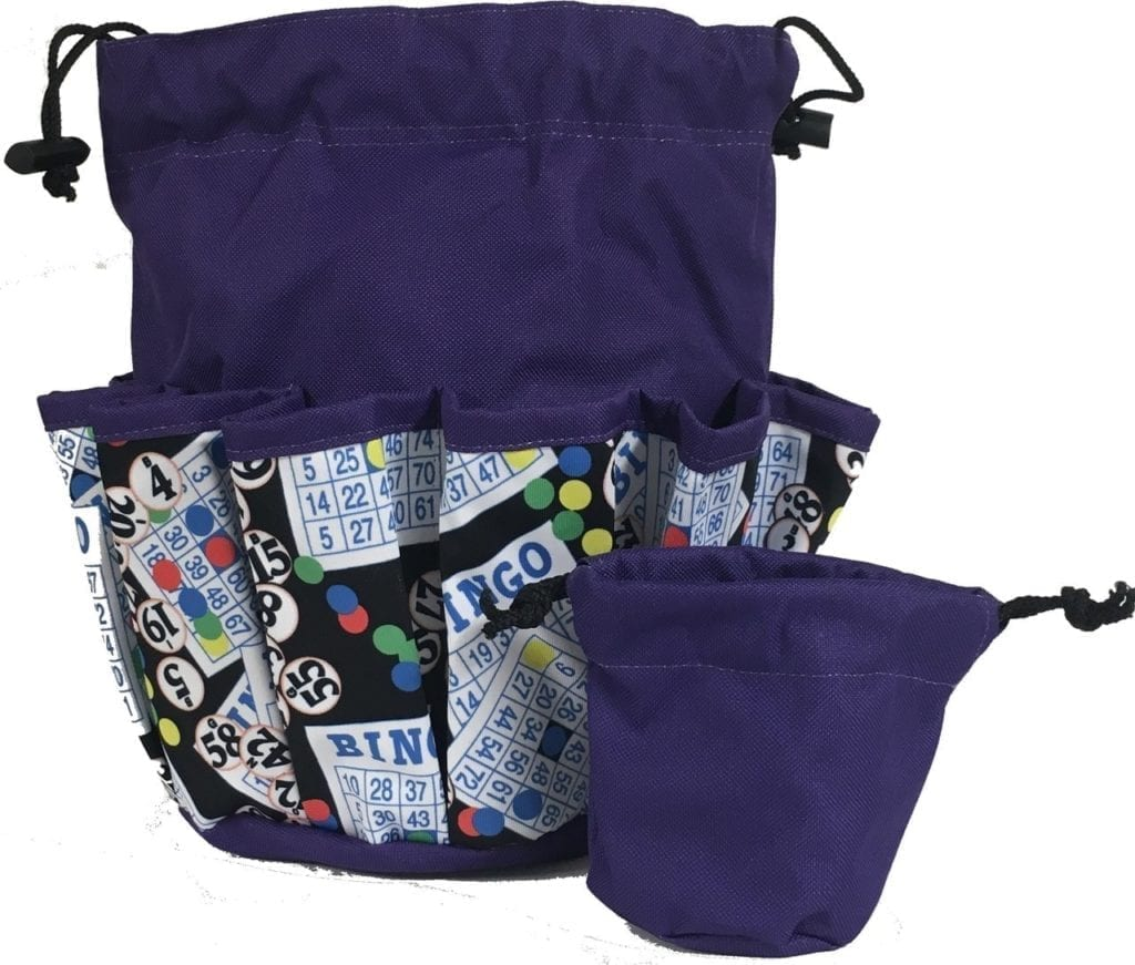 Bingo #1 – 10 Pocket Dauber Bag w/Drawstring – Purple