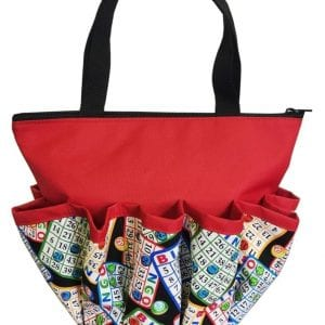 Bingo Chips - 10 Pocket Dauber Bag w/Zipper - Red