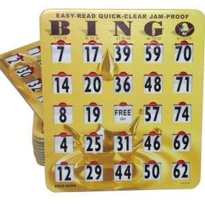 SALE- 50 Pack EZ-Read Quick-Clear Jam-Proof Large Print Gold Bingo Slide Cards