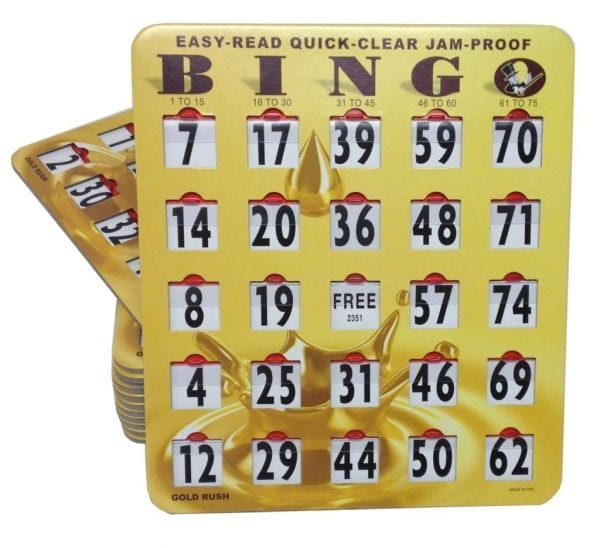 SALE- 100 Pack EZ-Read Quick-Clear Jam Proof Large Print Gold Bingo Slide Cards