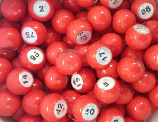 "Small 7/8"" Red Raffle Ball 1-100"