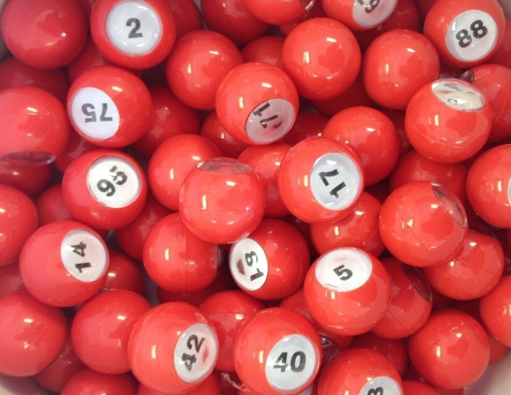 Small 7/8″ Red Raffle Ball 1-100