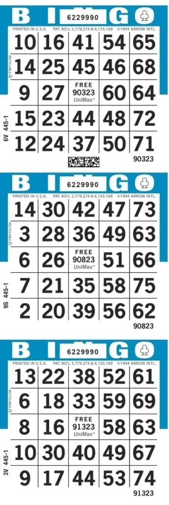 SALE- 3-Face Vertical Bingo Paper - Package