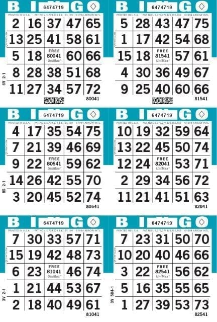 6-Face Vertical Bingo Paper - Case