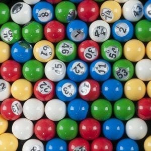 "Small 7/8"" Plastic 5-Color Bingo Ball With Clear Cover"