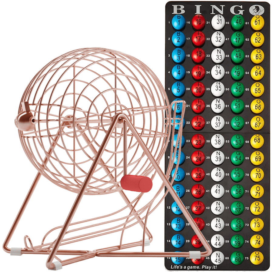 NEW- Small Rose Gold Plated Bingo Cage Set