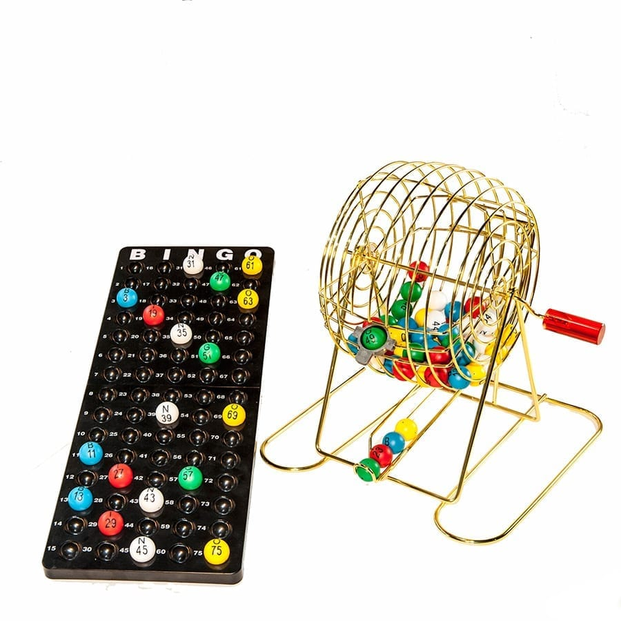 Small Brass Plated Bingo Cage Set