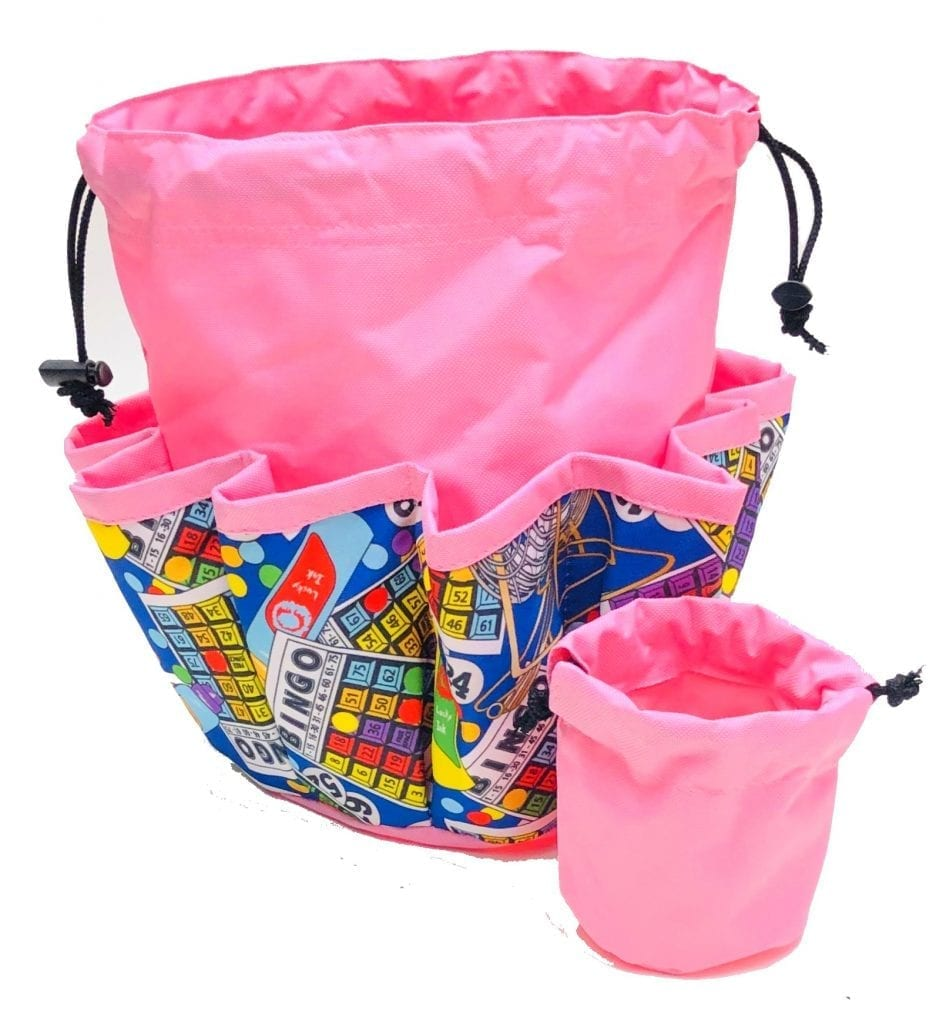 NEW- Bingo Cages 10 Pocket Dauber Bag w/Drawstring – Pink