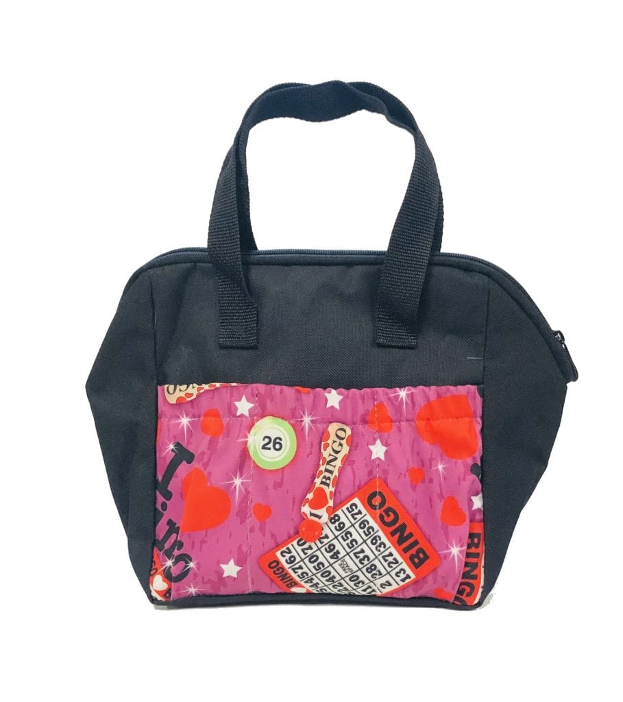 6 Pocket Bingo I Love Bingo Tote Bag- Black
