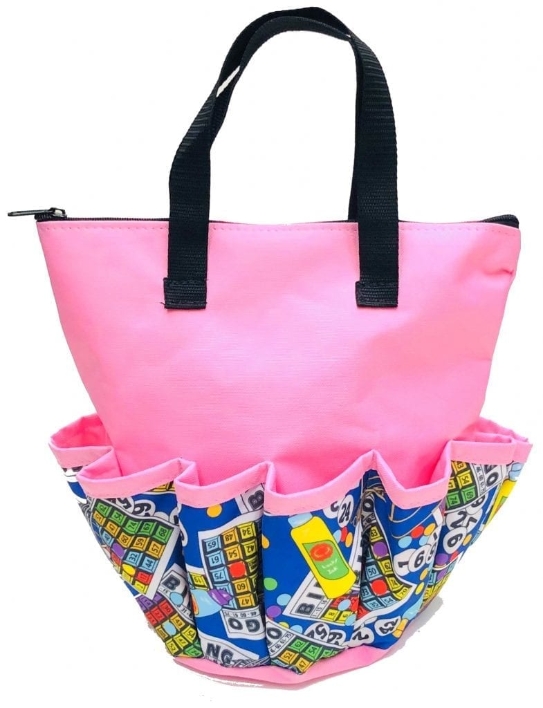 NEW- Bingo Cages 10 Pocket Dauber Bag w/Zipper- Pink
