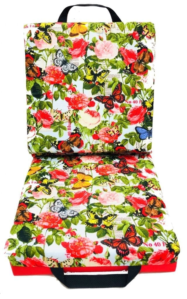NEW- Butterflies and Flowers Double Seat Cushion – Red