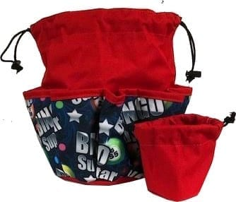 Bingo Superstar 10 Pocket Dauber Bag w/Drawstring – Red