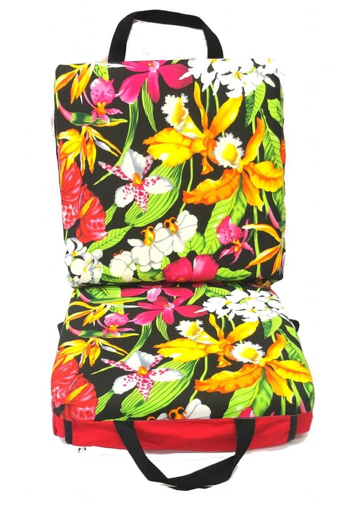 Tropical Flowers Double Seat Cushion w/Dauber Pockets – Red