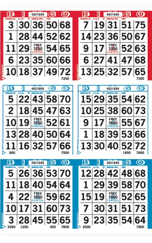 Red/White/Blue 6 on Bingo Paper Package