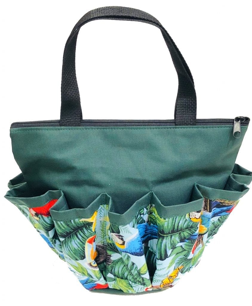 Tropical Parrot 10 Pocket Dauber Bag w/Zipper- Forest Green