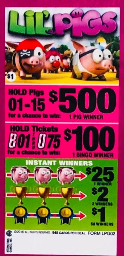 Lil Pigs Bingo Event Ticket 945 Ct.