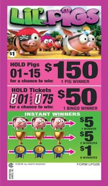Lil Pigs Bingo Event Ticket 315 Ct.