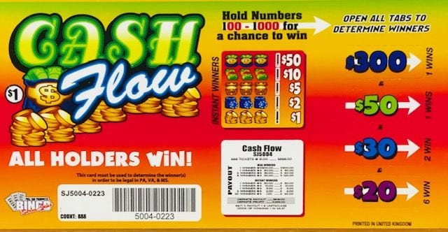 Cash Flow Pull Tab Charity Ticket 888ct