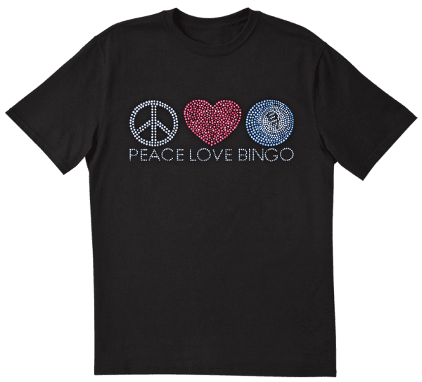 "NEW- Bling ""Peace-Love-Bingo"" Tee Shirt - Black"