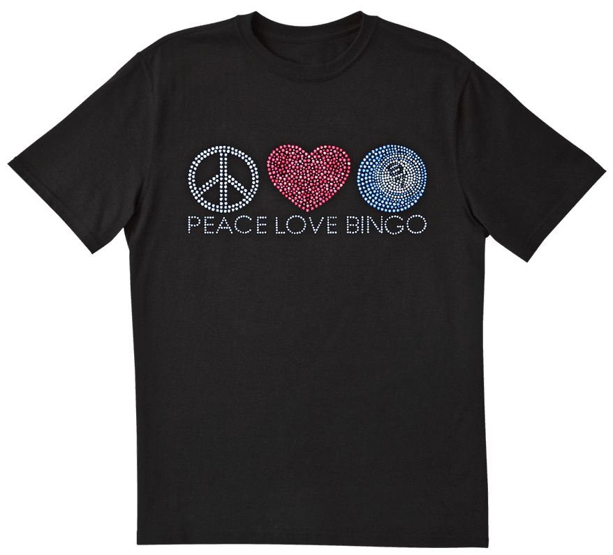 "NEW- Bling ""Peace-Love-Bingo"" Tee Shirt – Black"